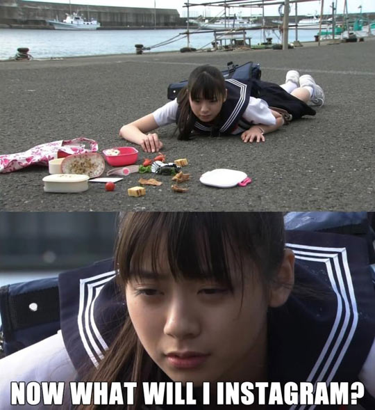 funny-Asian-girl-fall-floor-lunch