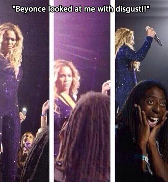 Beyonce can't comprehend what she's seeing…