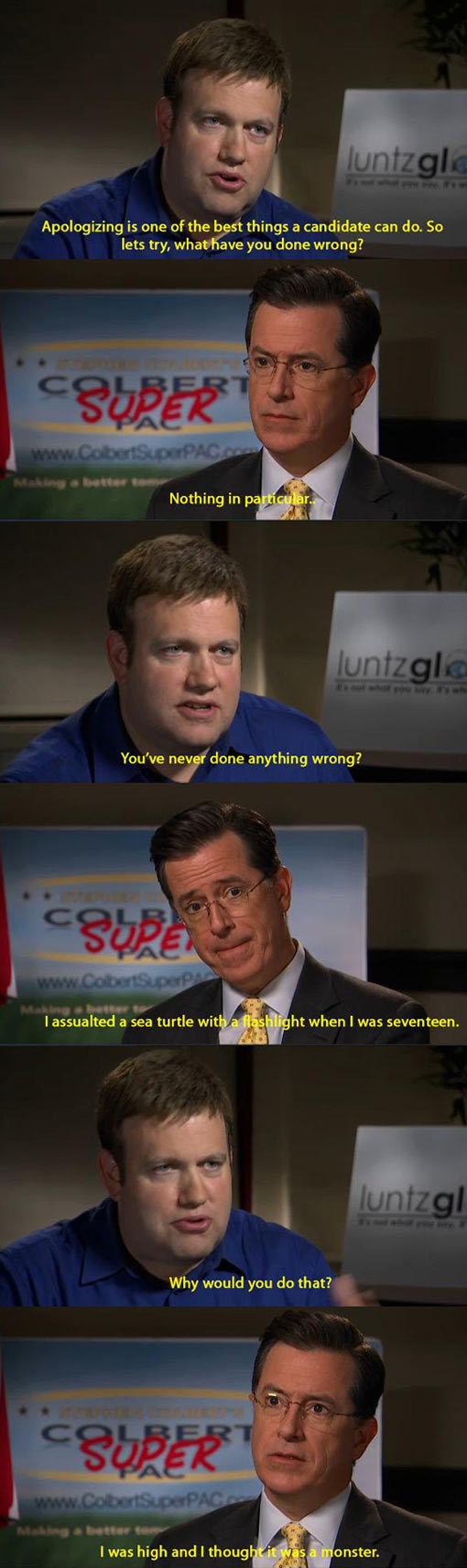 Colbert confesses to his wrongdoings…