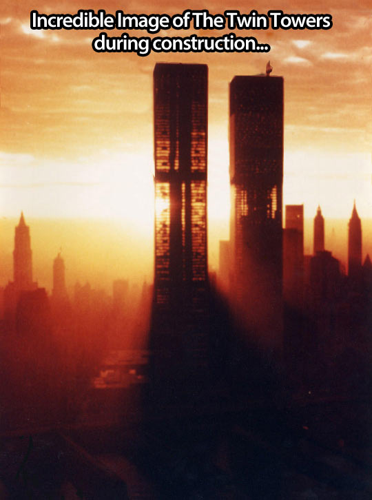 The Twin Towers during construction…