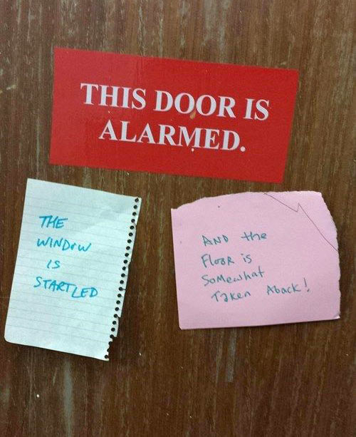 An alarmed door…
