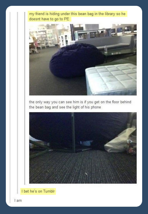 Hiding in the library…