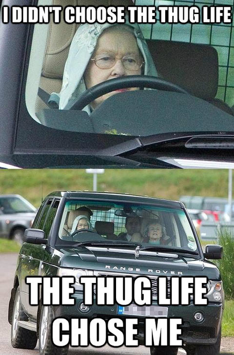 The Queen. In a hoodie and driving a Range Rover…