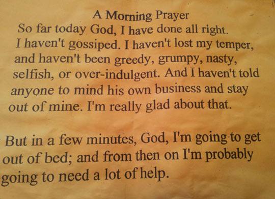 A morning prayer…