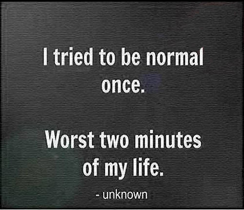 I tried to be normal once…