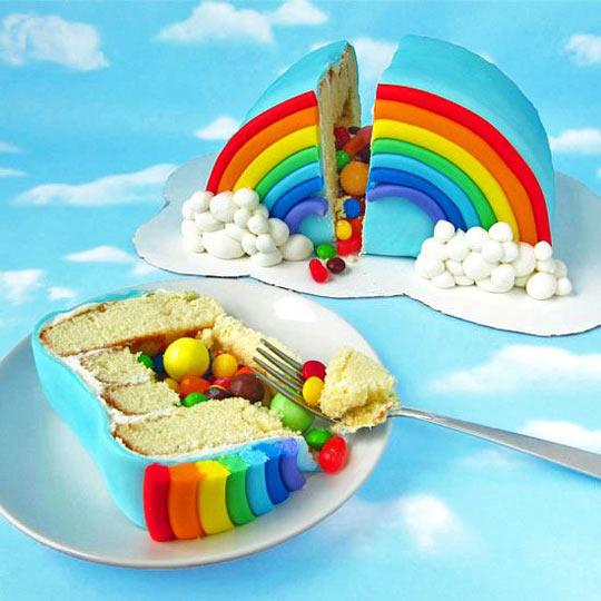 Rainbow Piñata Cake…