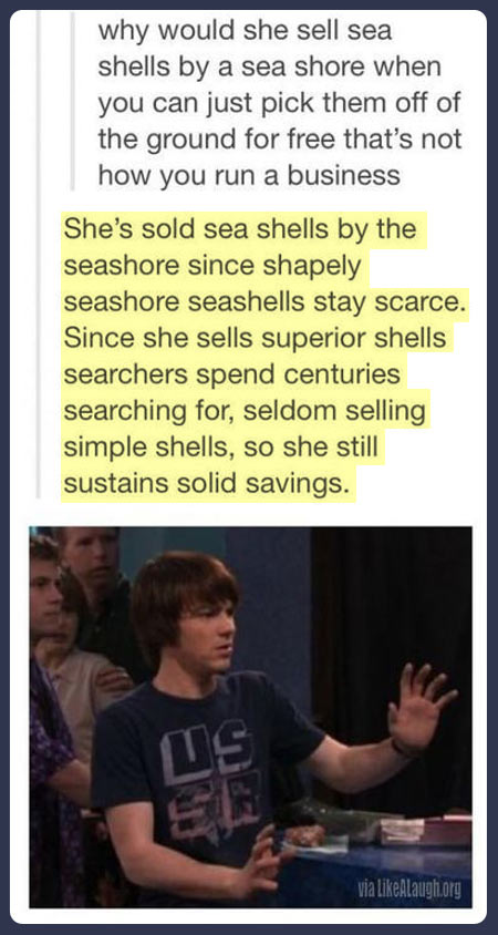 She sells sea shells…