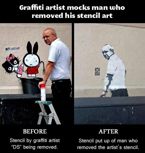Graffiti artist mocks grumpy man…