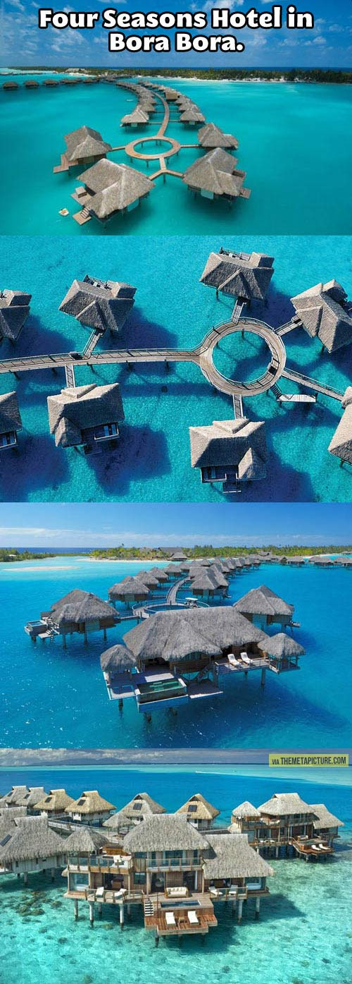 This is what the Four Seasons Hotel looks like in Bora Bora…