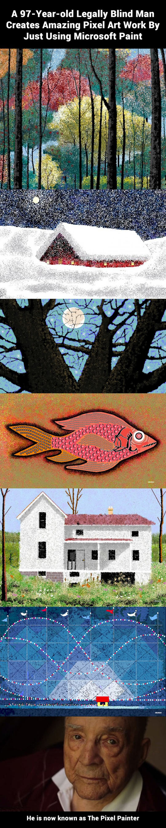Blind man created amazing pixel art using Paint…