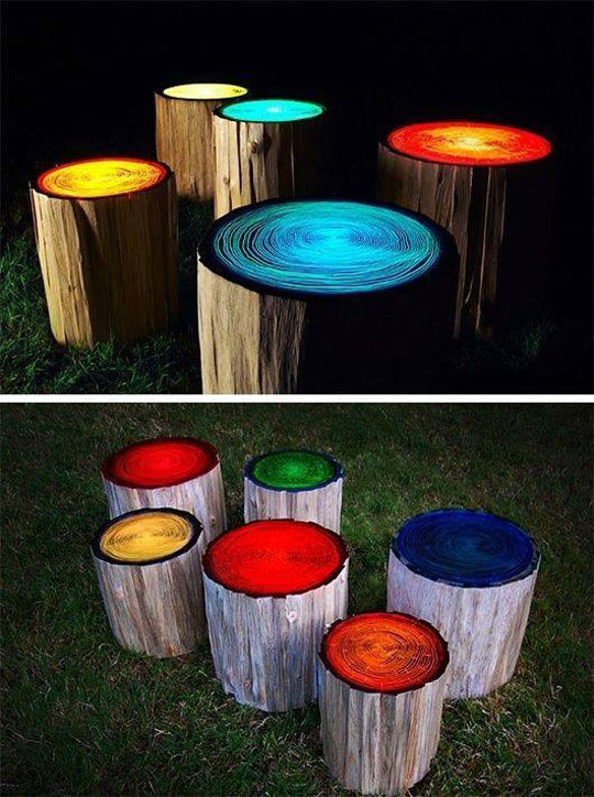 Log stools painted to glow in the dark…