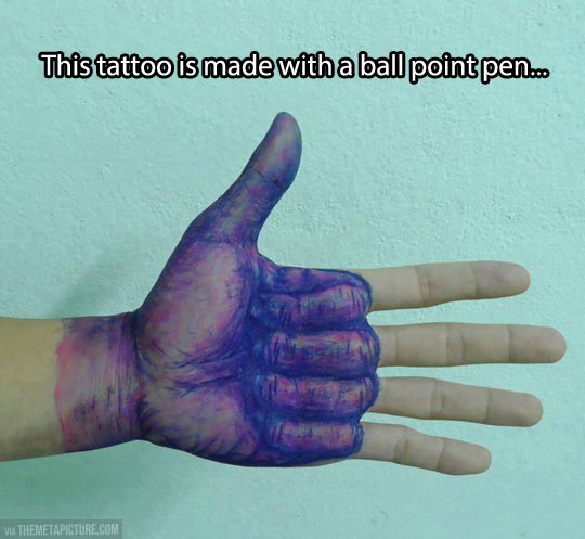 Ball point tattoo…