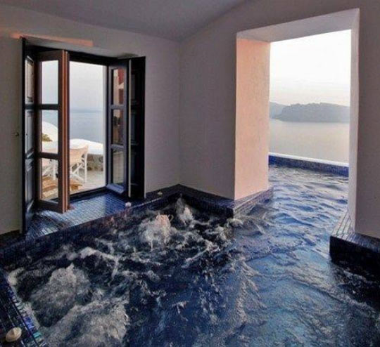 Indoor and outdoor hot tub…