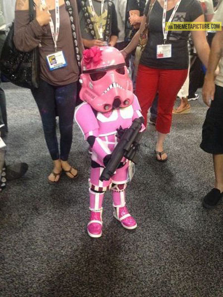 Little girl proves Stormtroopers look good in pink…