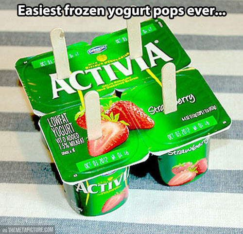 Frozen yogurt pops…
