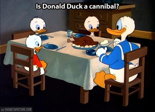 Donald Duck's shady eating habits…