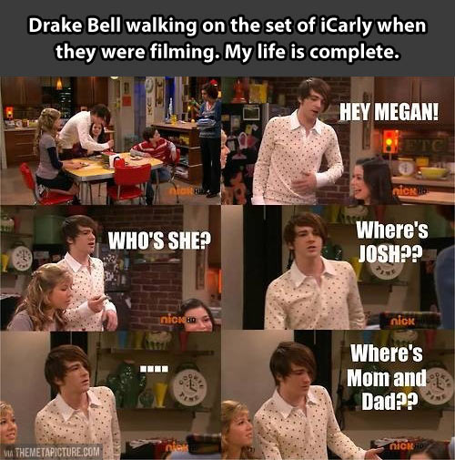 Drake Bell walking on the set of iCarly…