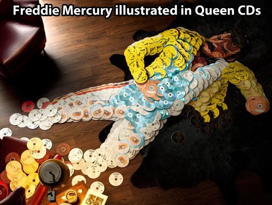 Freddie Mercury illustrated in Queen CDs…