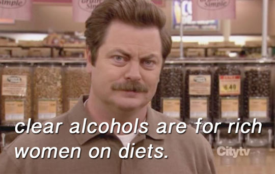 Clear alcohol…