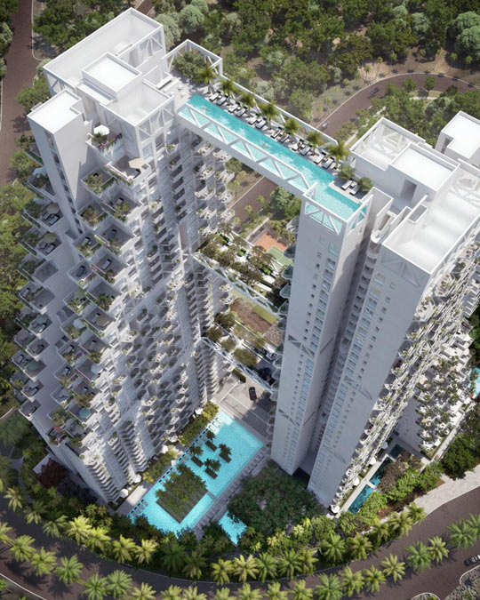 A swimmable skybridge in Singapore…
