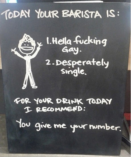 I'll be your barista today…