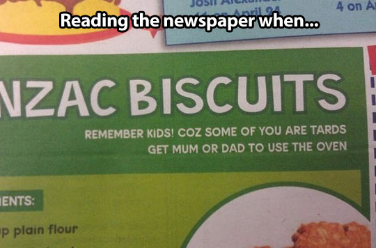 Reading the newspaper when suddenly…