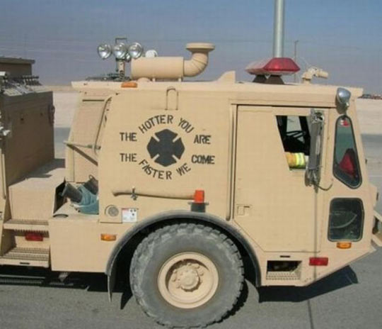 Is see what you did there, firefighter truck…