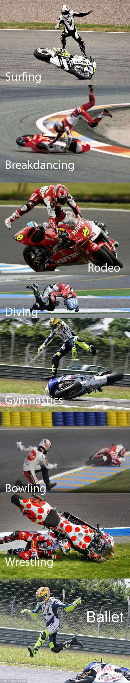 Sports combined with motorcycle racing…