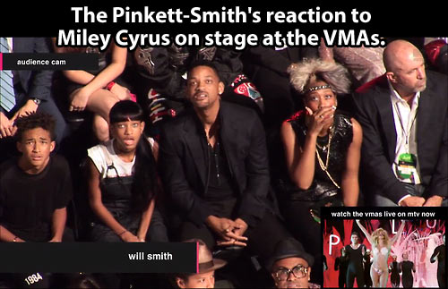 The reaction to Miley Cyrus on stage…
