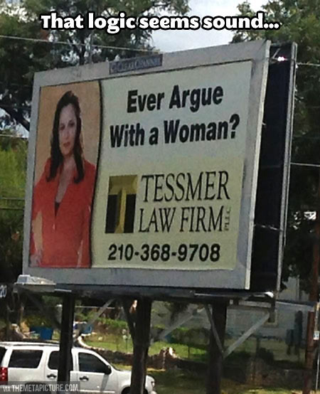 funny-sign-law-firm-argue-woman