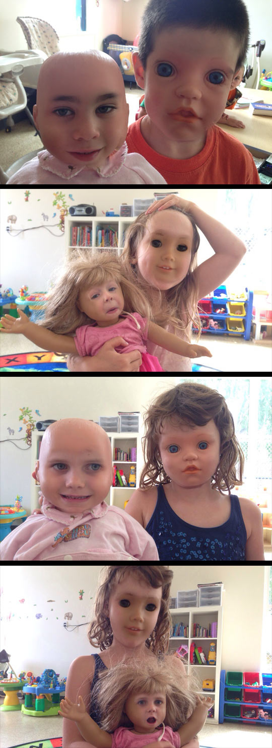 Faceswaps of children and their dolls…