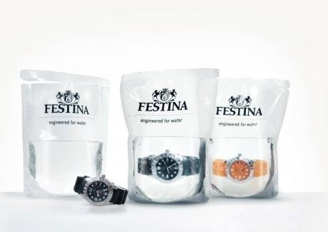 Swiss company that sells waterproof watches in a bag of water.
