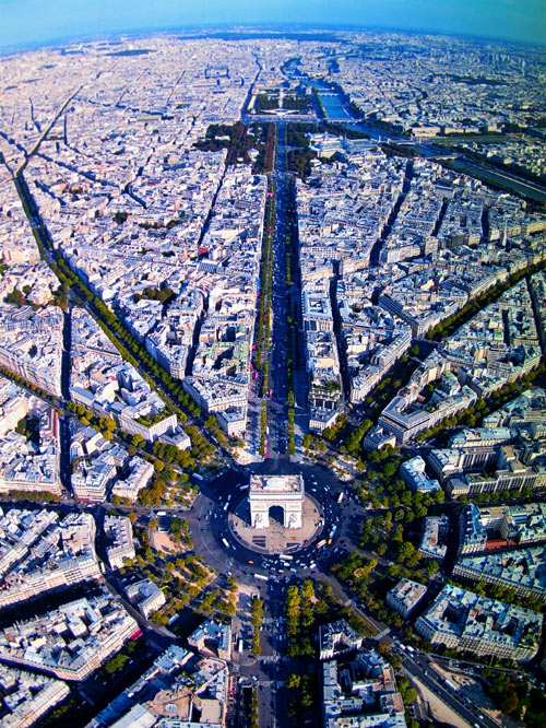 Paris, incredible view above Champs Elysees…