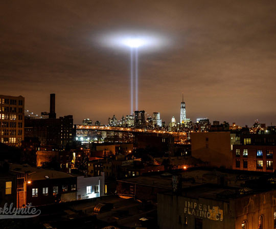 9/11 tribute as seen from Brooklyn…