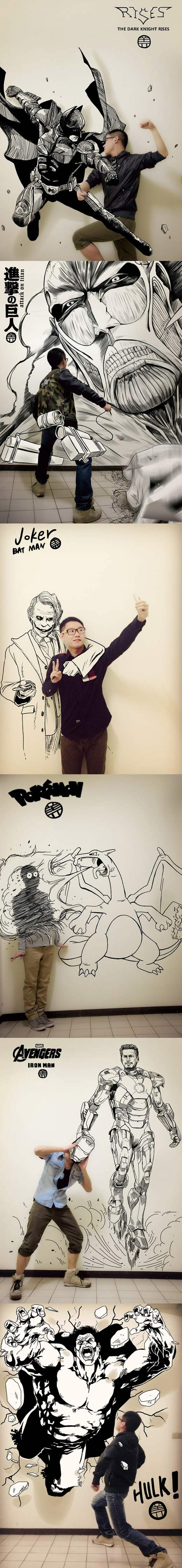Epic Asian guy draws himself with comic book characters...