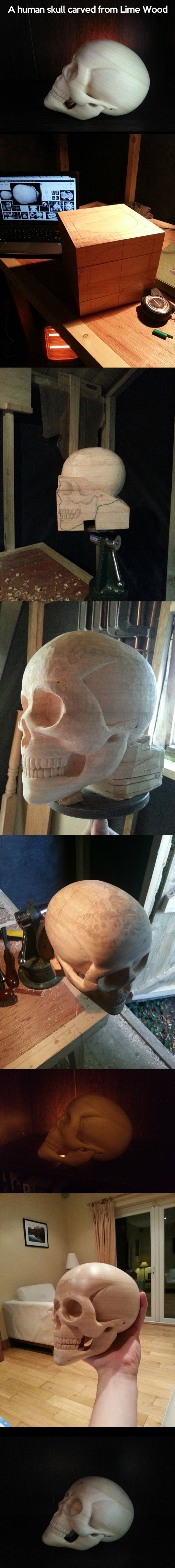 Human skull carved from lime wood…