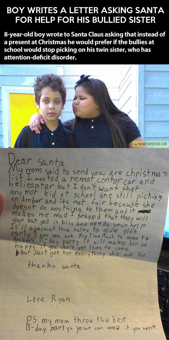 Boy asks Santa to help his bullied sister…