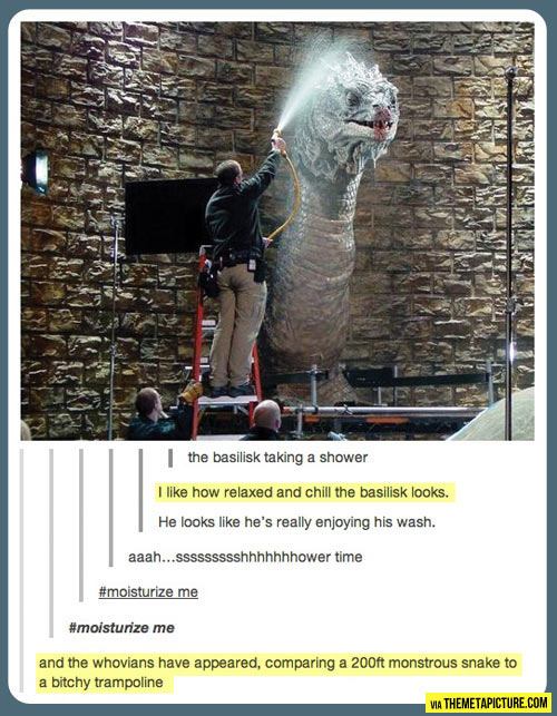 funny-Dr-Who-giant-prop-snake-bath