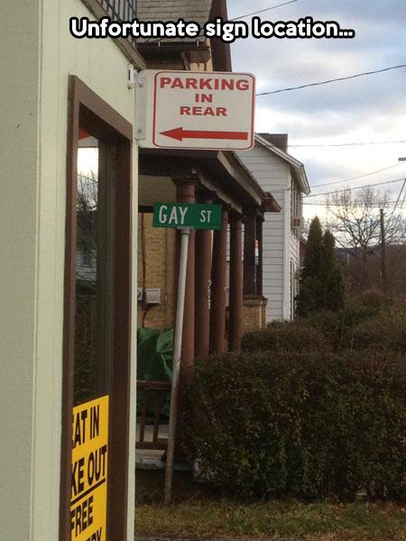 Bad sign location…