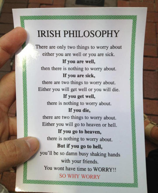 Very Funny Pictures With Sayings Irish philosophy…
