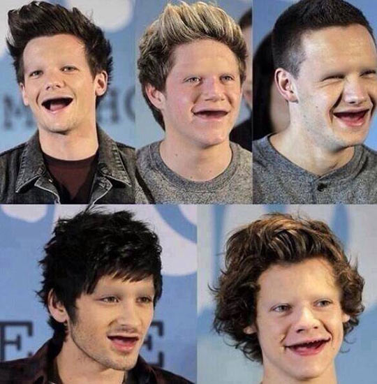 One Direction without teeth or eyebrows…