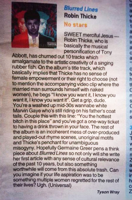 A review of Robin Thicke's Blurred Lines…