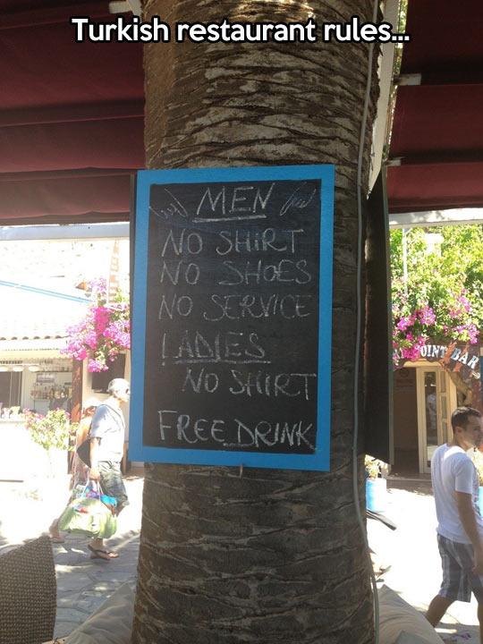 Restaurant rules…