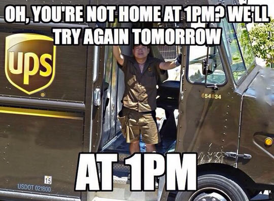 Convenient package delivery time…