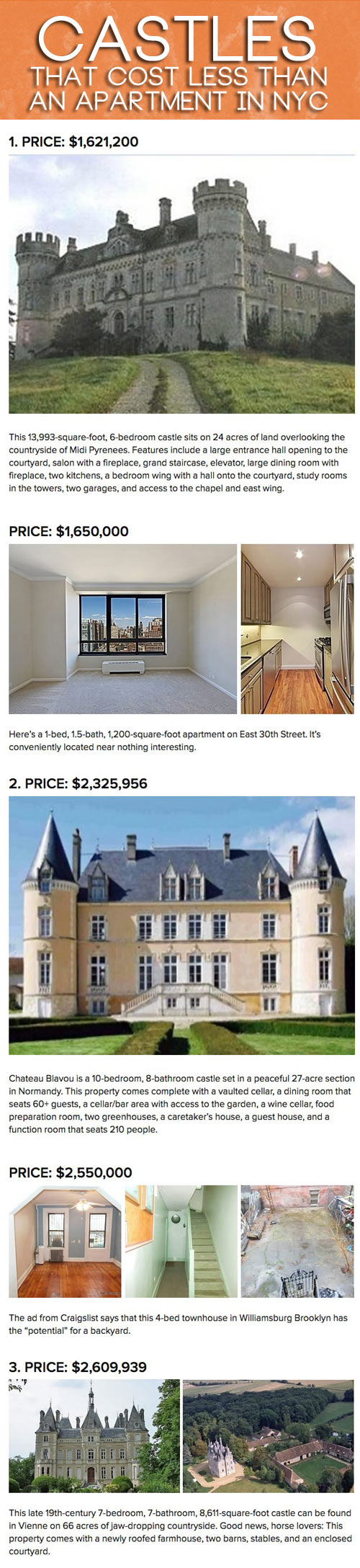 Castles that cost less than an apartment in NYC...