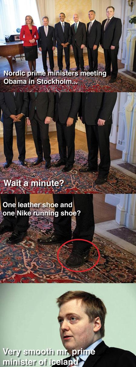 Shoe fail while meeting Obama…