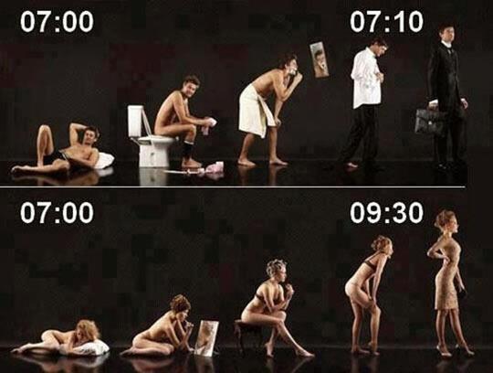Getting ready: men vs. women…