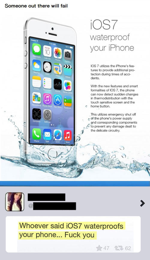 Now your iPhone becomes waterproof with iOS7…