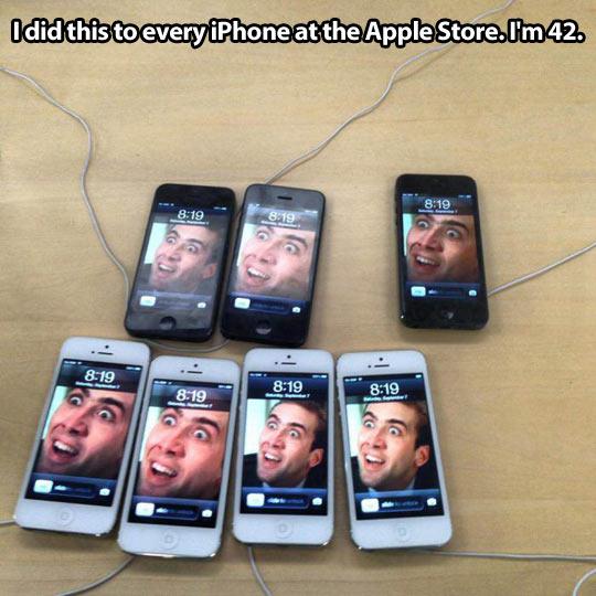 Having fun in an Apple store…