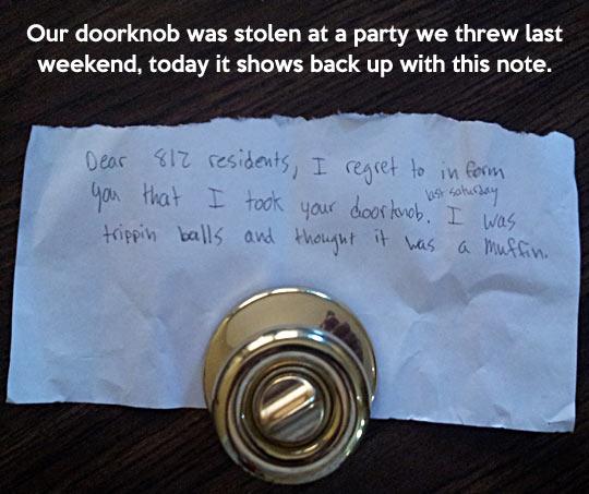Lost doorknob returns…